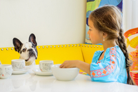 Girl and dog looking at each other at table