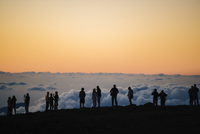 Row of silhouetted tourists above at sunset, Haleakala National Park, Maui, Hawaii