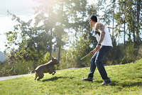 Young man throwing stick for dog in park