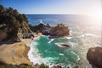 High angle view of beach and sea, Big Sur, California, USA