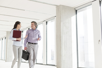 Businesswoman talking to male client in office corridor