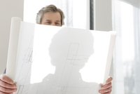 Mature businessman looking at blueprint in new office