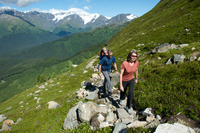 Group of people hiking, North Face Trail, Alyeska Prince Hotel, Alyeska Resort, seven glaciers, Winner Creek Valley, Turnagain A