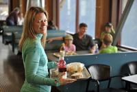 Family taking a break from hiking, Glacier Express Restaurant, Upper Tram Terminal, Alyeska Resort, Mt. Alyeska, Girdwood, Alask