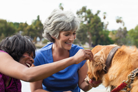 Two mature female friends, petting dog, outdoors