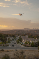 Drone flying above housing development, Santa Clarita, California, USA