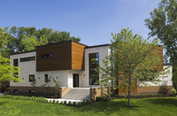 Modern cubist cedar wood building exterior, Quebec, Canada