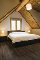 Vaulted ceiling and double bed below window in modern bedroom