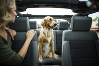 Young woman in jeep looking over her shoulder at dog