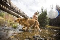 Young man and dog paddling in river, Lake Tahoe, Nevada, USA