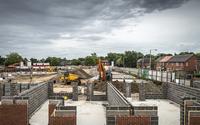 Brick walls on construction site