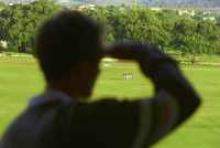Rear view of mid adult man shielding eyes looking at golf course, focus on background
