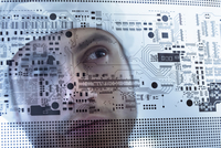 Worker inspecting circuit board negative sheet in circuit board factory, close up