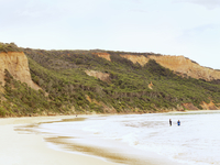 View of sea and beach, Point Addis National Park, Anglesea, Australia