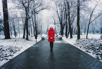 Portrait of young woman wearing red coat in snow covered park