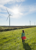 Mature woman standing in field, watching wind turbines on windfarm, rear view, Rilland, Zeeland, Netherlands