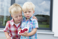 Two young brothers on patio eating a bowl of raspberries