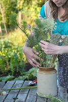 Mature woman arranging fresh ferns in jar at allotment