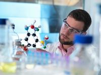 Scientist examining molecular model in laboratory
