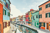 Traditional multi colored houses and canal, Burano, Venice, Italy