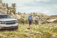 Rear view of man and teenage son on road trip hiking in landscape, Bridger, Montana, USA