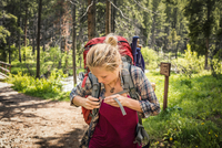 Teenage girl hiker fastening rucksack in forest, Red Lodge, Montana, USA