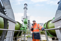 Portrait of worker at pumping station in gas-fired power station