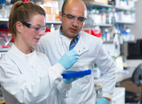 Scientists preparing to analyse samples from clinical trial, Jenner Institute, Oxford University