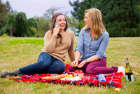 Two young women enjoying picnic in park, using smartphone