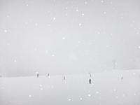 Skiers in snowy landscape, Utah, USA