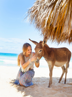 Young woman kneeling to pet donkey on beach, Dominican Republic, The Caribbean