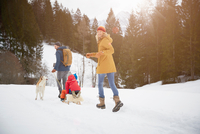 Rear view of parents pulling sons on toboggan in snow  covered landscape, Elmau, Bavaria, Germany