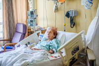 Patient on hospital bed