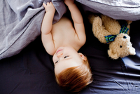 Overhead view of baby girl and teddy bear lying in bed