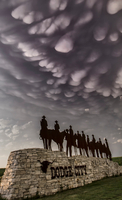 Undulating mammatus hand in the sky following a thunderstorm, Dodge City, Kansas, USA