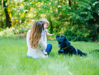 Female toddler and mother petting labrador in park