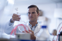 Mid adult man in laboratory, holding test tube
