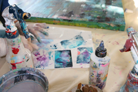 Cropped view of artist creating artwork