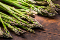 Bunches of asparagus officinalis  on table