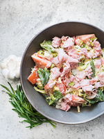 Bowl of fresh salad with ham