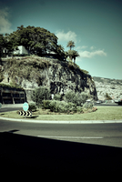 Roundabout on rocky landscape, Madeira, Funchal, Portugal