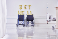 Golden get well balloons and wheelchairs