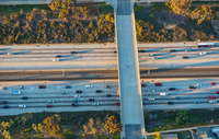 Aerial view of traffic on highway, Los Angeles, California, USA