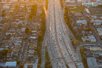 Aerial view of rush hour traffic on highway, Los Angeles, California, USA