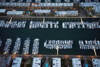 Aerial view of yachts and boats moored at Marina del Rey, Los Angeles, California, USA