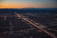 Aerial view of rush hour traffic on highway 405 at sunset, Los Angeles, California, USA
