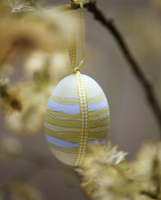 Painted and decorated egg hanging from branch