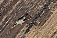 Brown coal mining, aerial view, Lausitz, Brandenburg, Germany