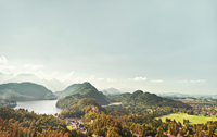 View from castle Neuschwanstein, Hohenschwangau, Bavaria, Germany