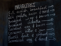Cafe menu on blackboard